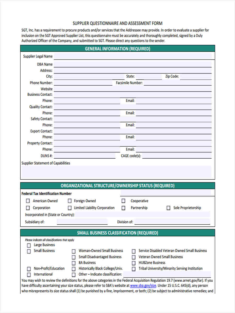 Supplier Questionnaire Form 11 Free Documents In Word Pdf