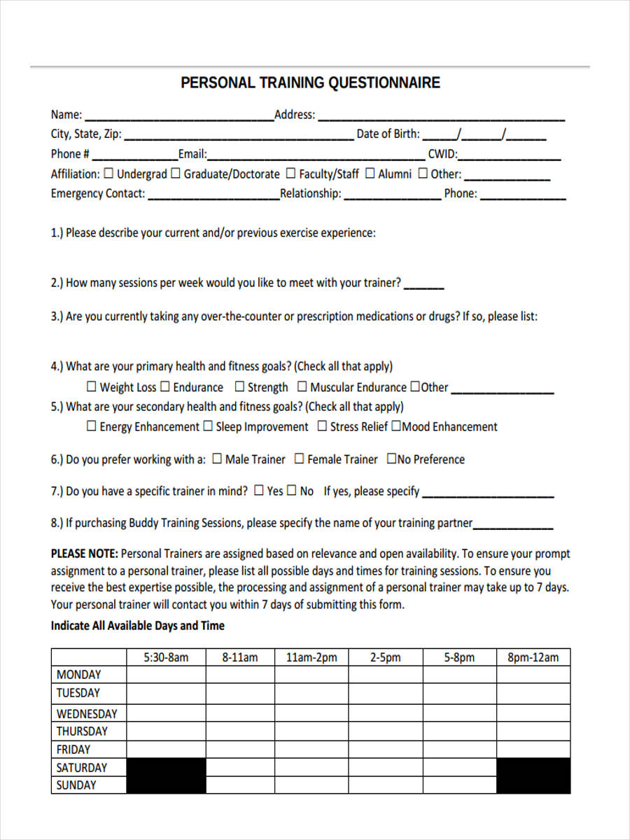 41 sample questionnaire forms