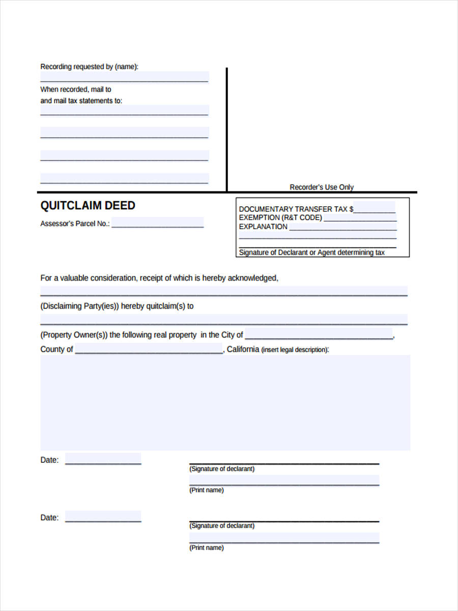 quit claim deed transfer