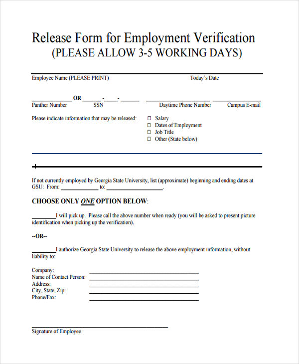 release for employment verification