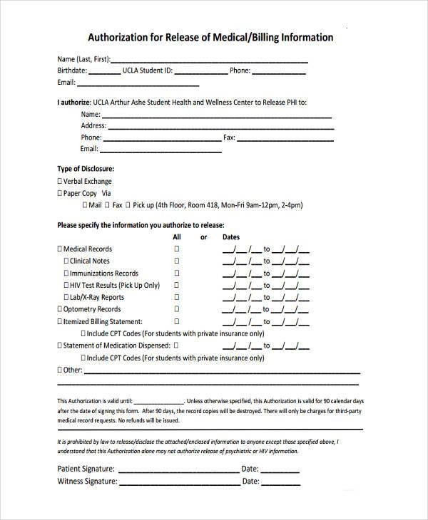 release of billing form