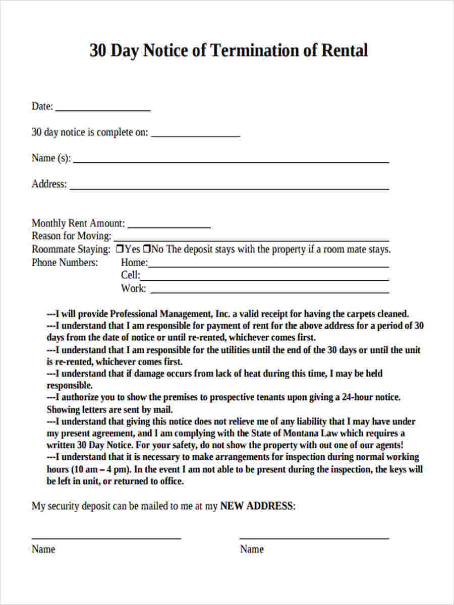 8  30 day notice forms