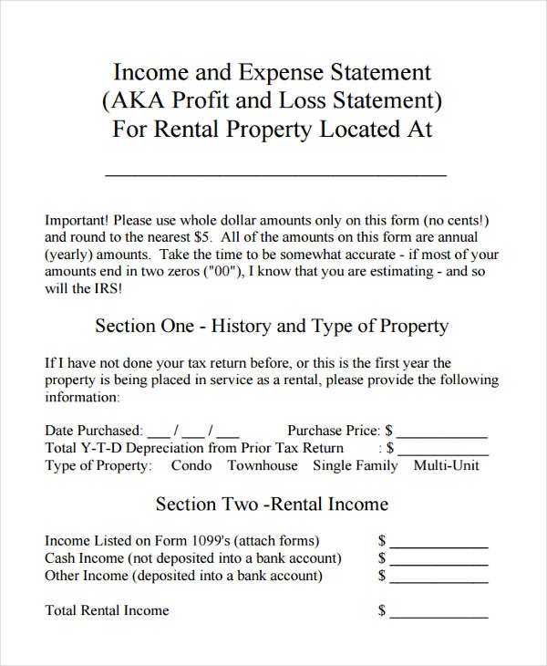 8 profit and loss statement form samples free sample for Rental property income statement template