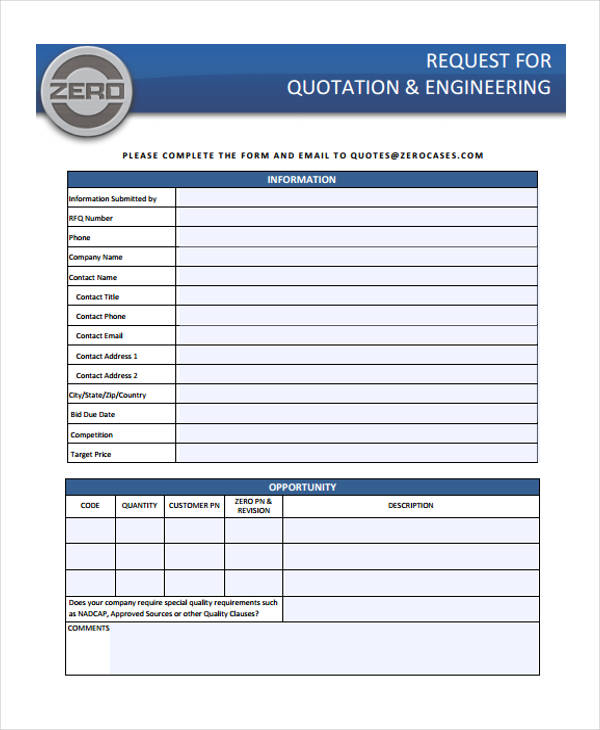 request for quotation for engineering company