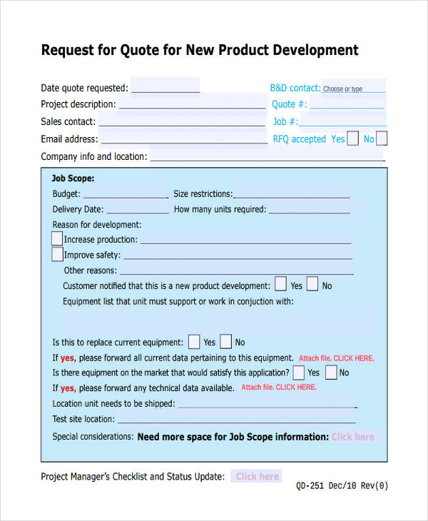 request for quote product development