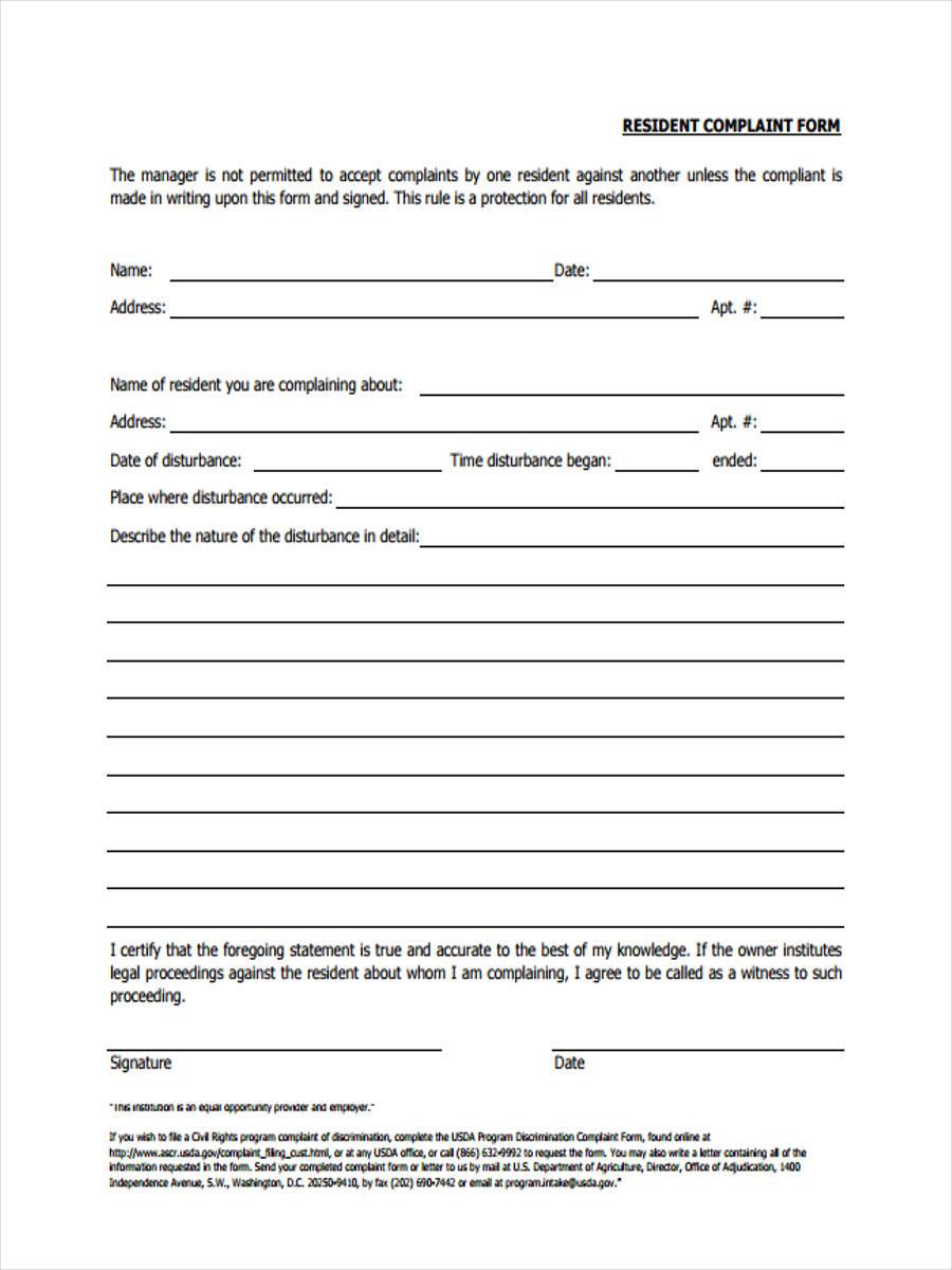 resident complaint sample