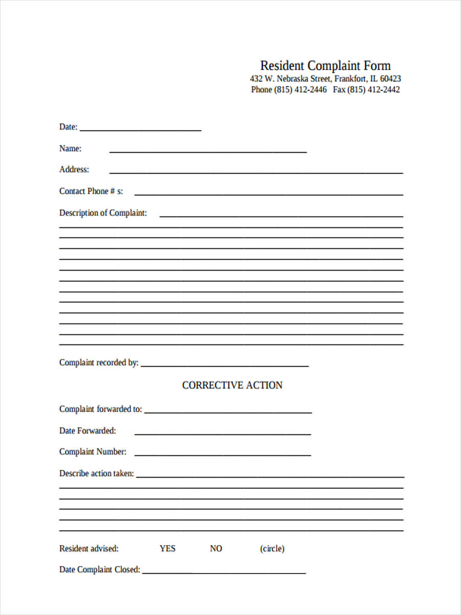 free 6  sample resident complaint forms in word