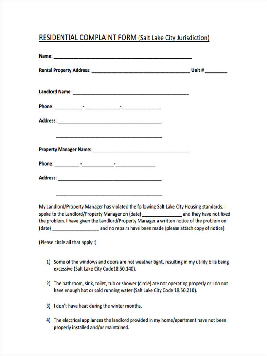 residential form sample