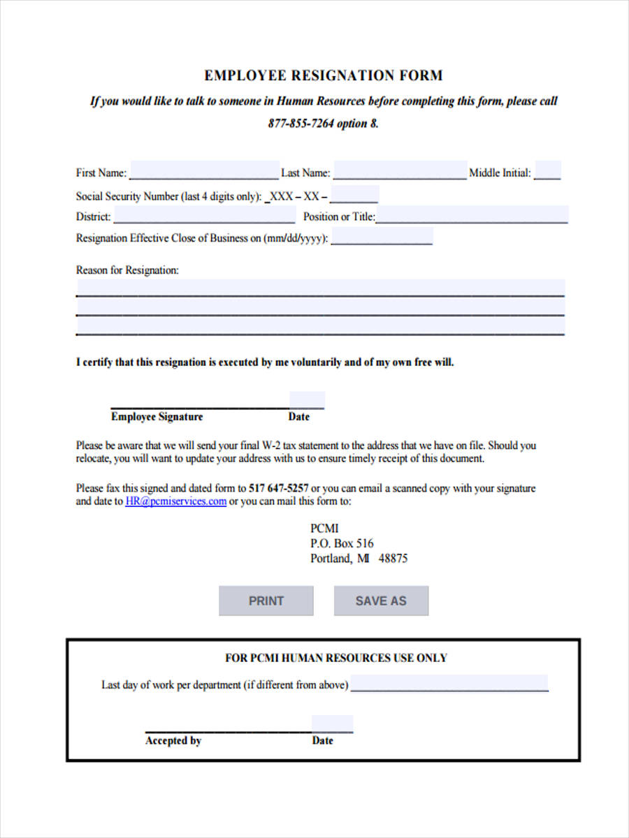 Resignation-Application-Form1 Job Application Form Completing on part time, free generic, blank generic,