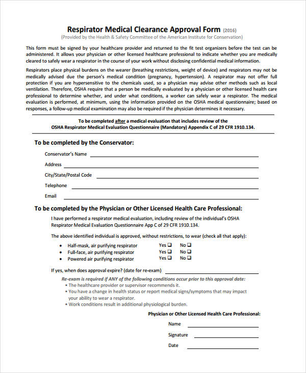 Respirator Clearance Form. Respirator Medical