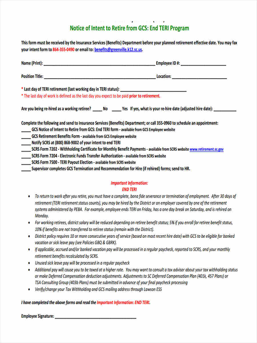 retiree notice of election in pdf