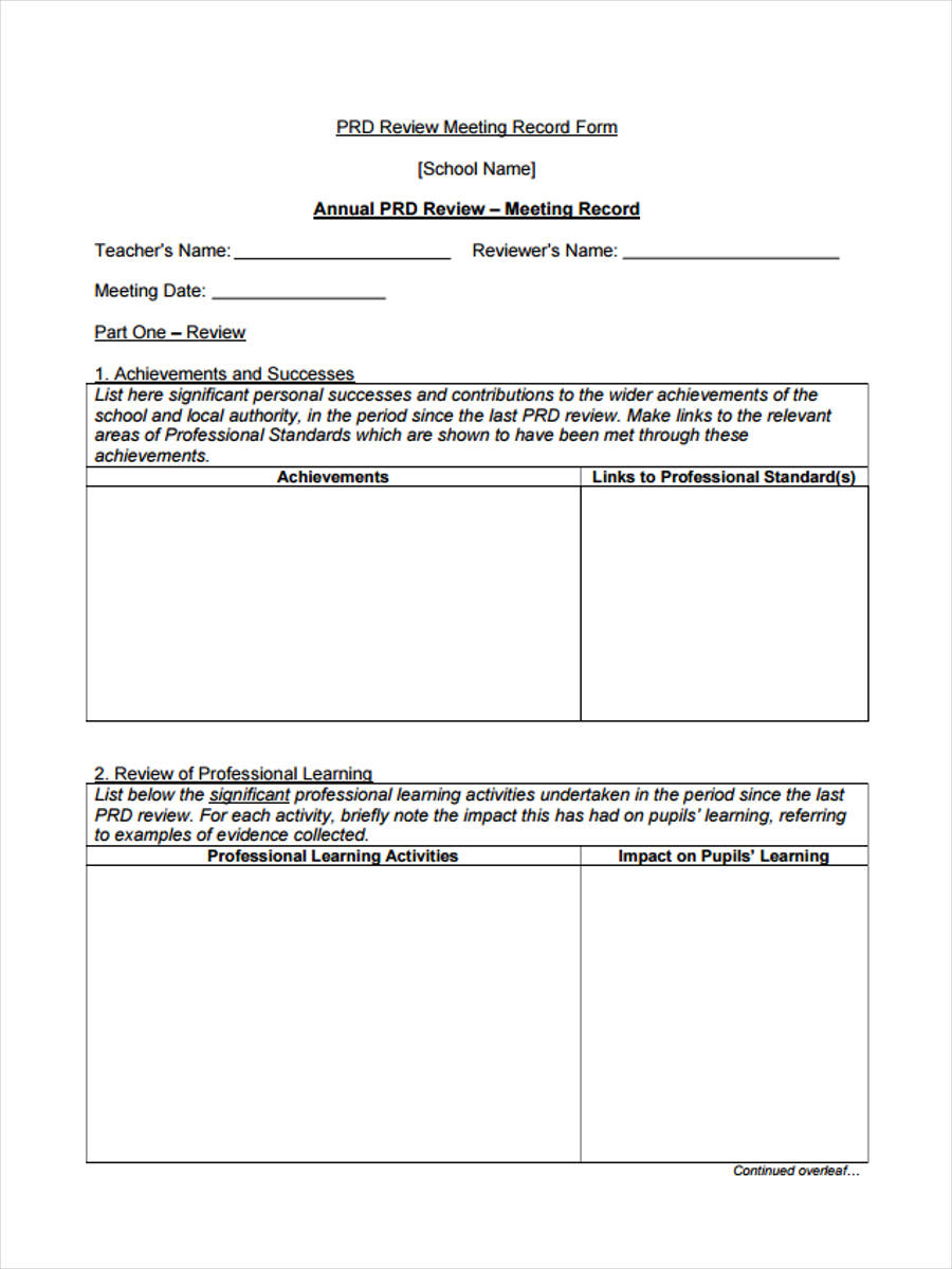 6  monthly review form sample