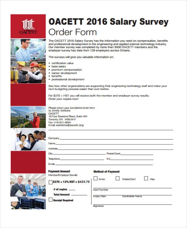 salary survey order sample