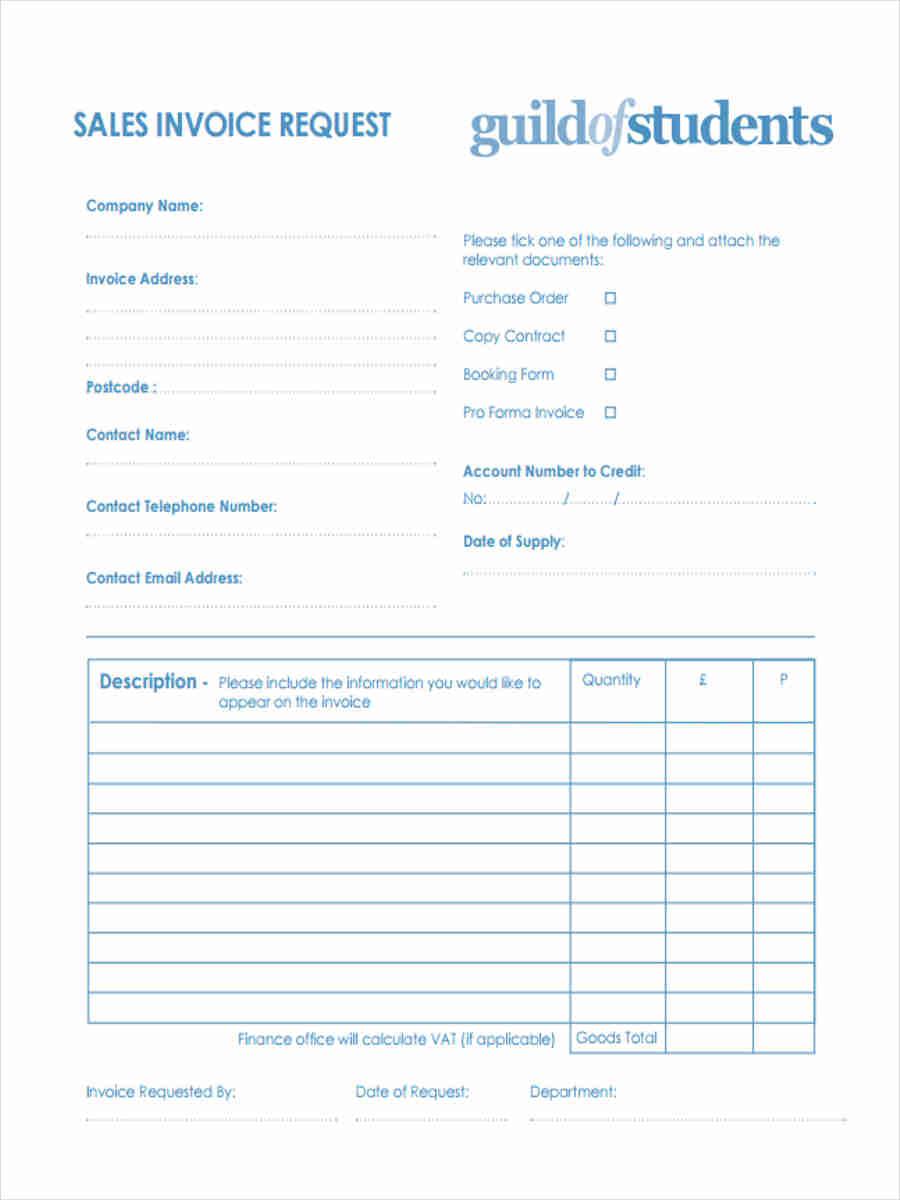 sales invoice request