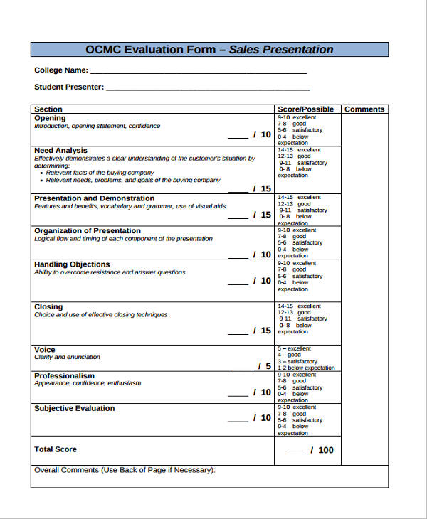 Sales Presentation Evaluation Form