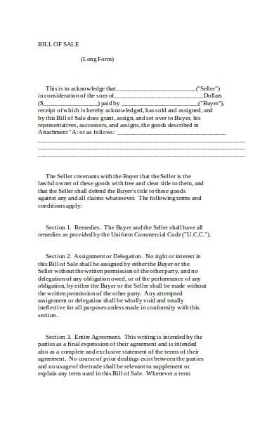 sample bill of sale form1