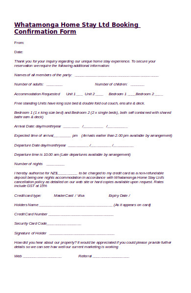 sample booking confirmation form