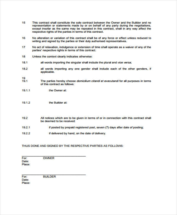 sample builder contract agreement form