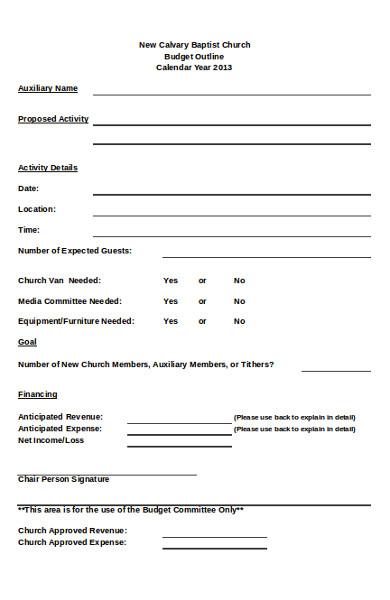 sample church budget form