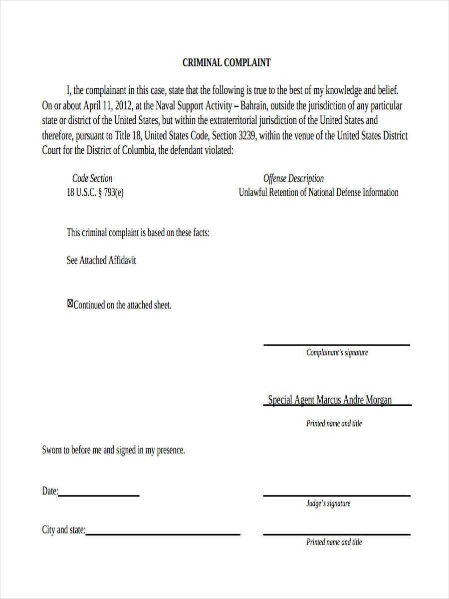 Sample Criminal Complaint Form Nurufunicaasl