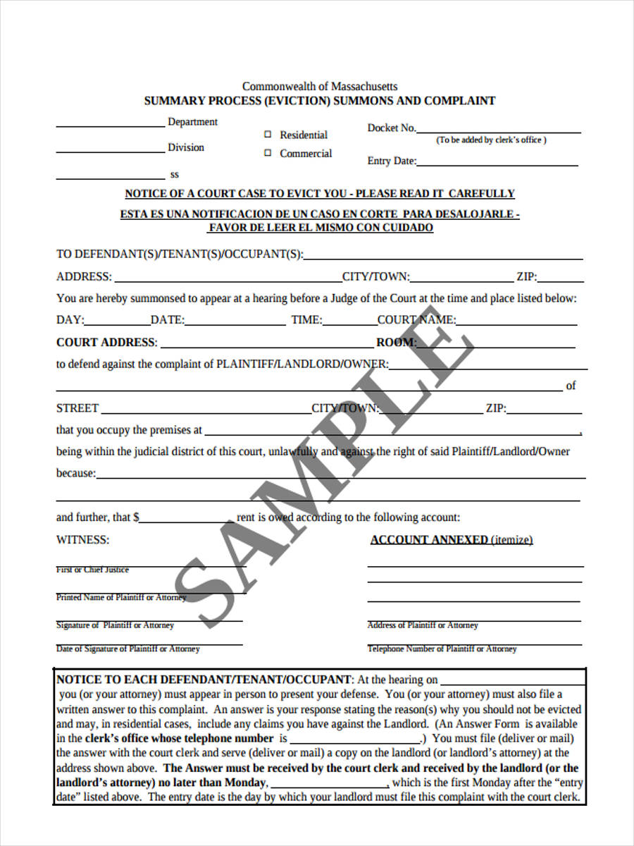 Eviction complaint form 5 free documents in word pdf sample eviction complaint altavistaventures