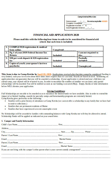 sample financial aid form