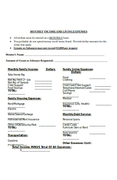 sample monthly budget form