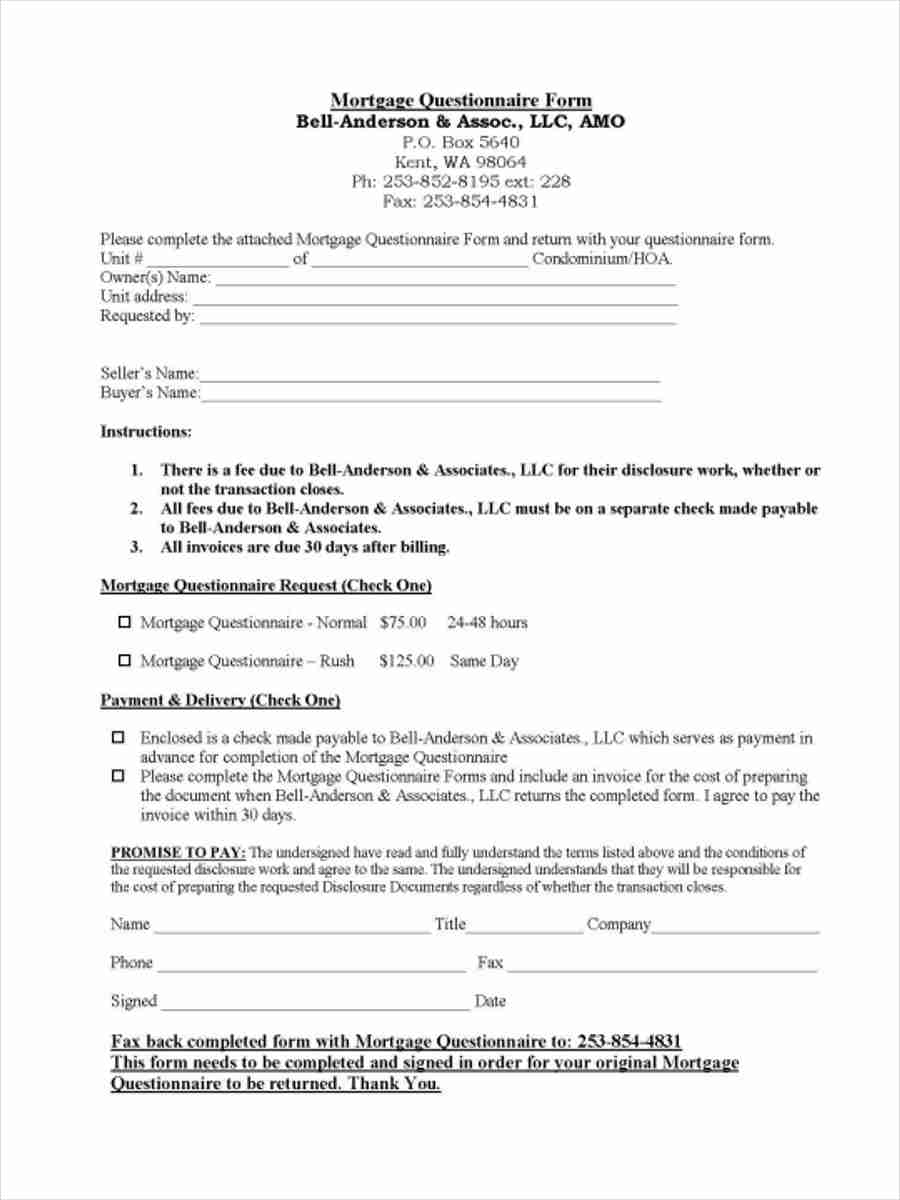 sample mortgage questionnaire