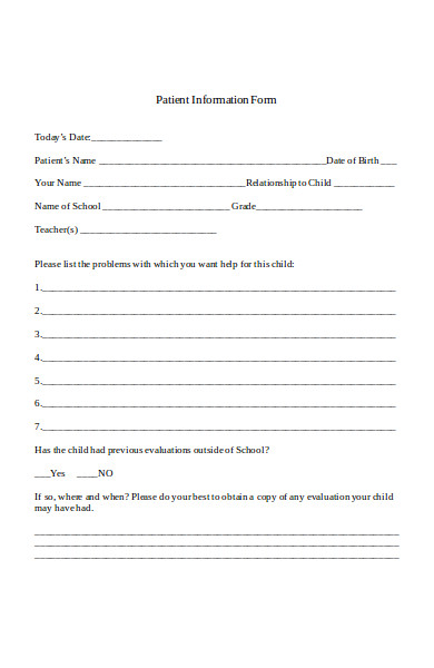 sample patient information form