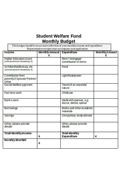 sample student budget form