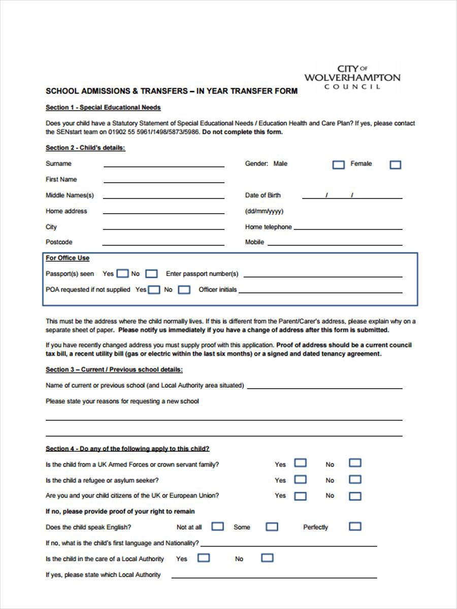 school admissions transfer