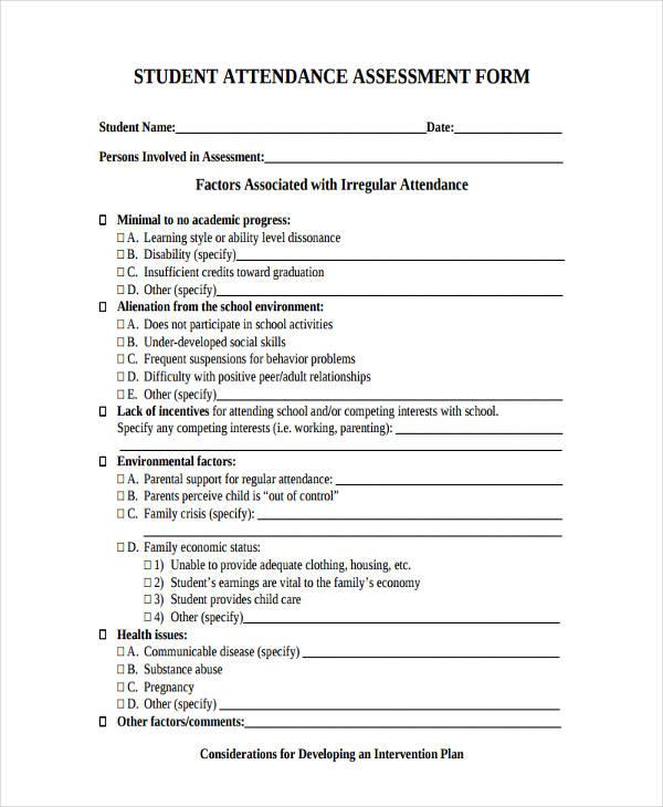 school student attendance assessment