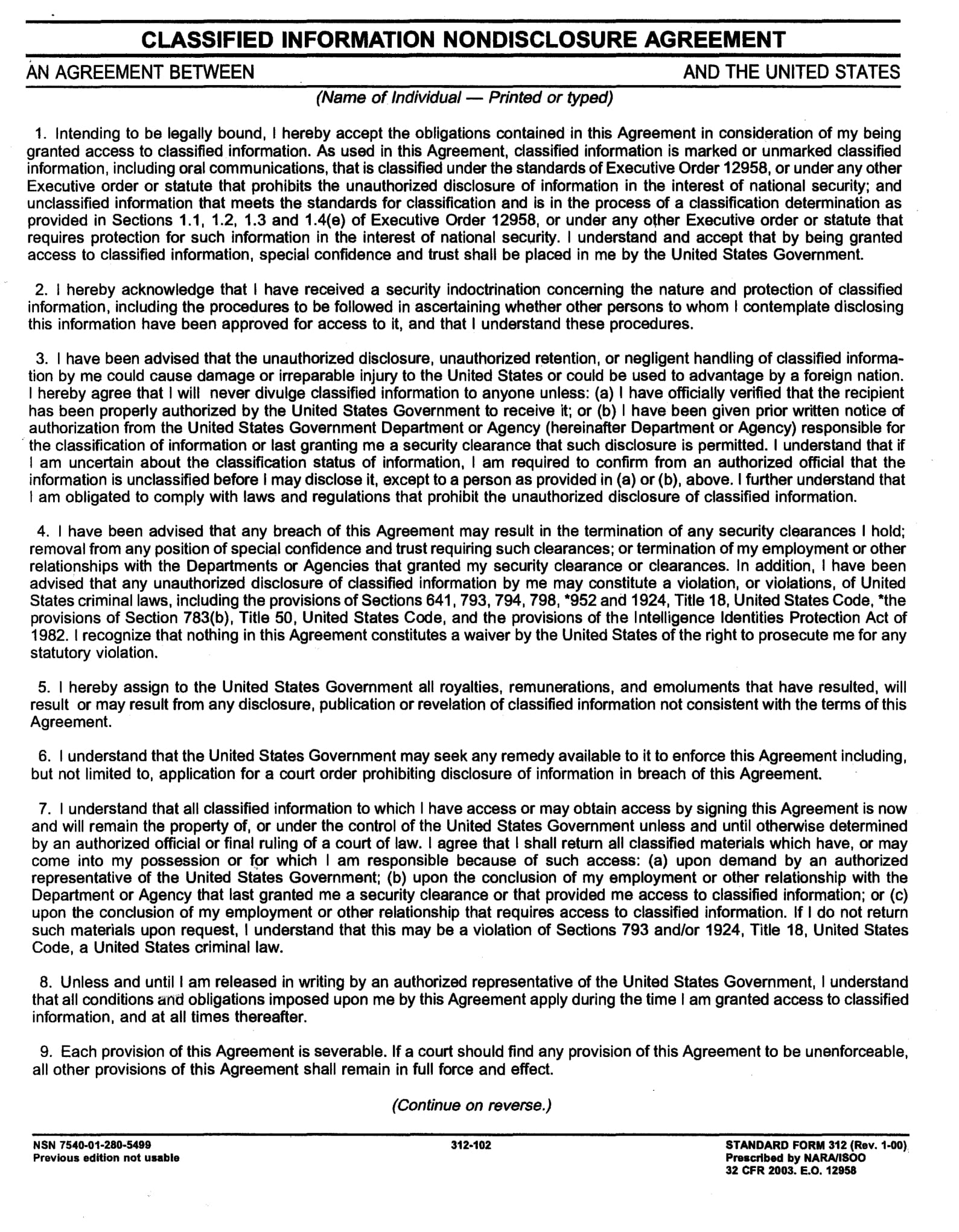 security clearance nondisclosure agreement