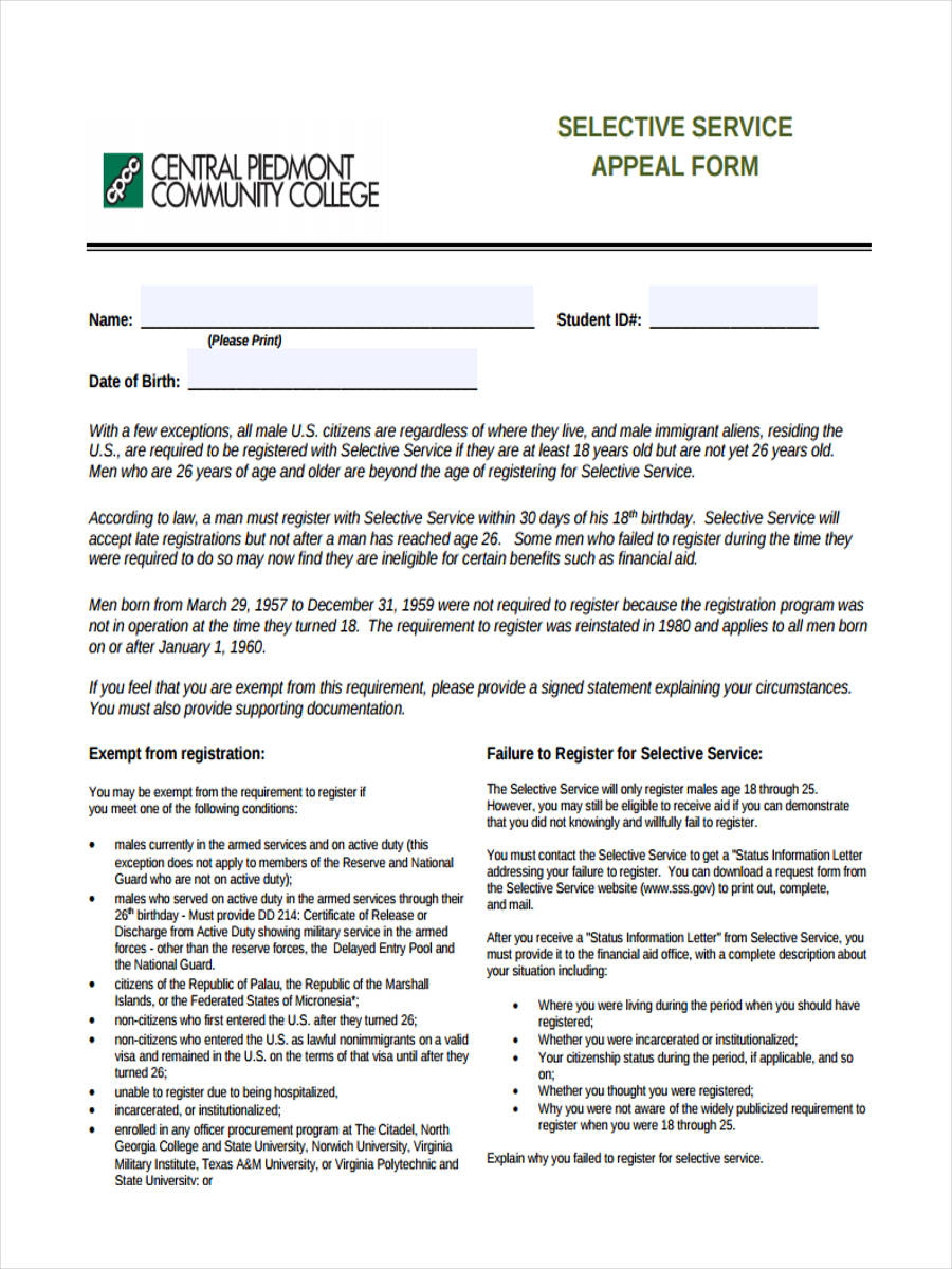 selective appeal form