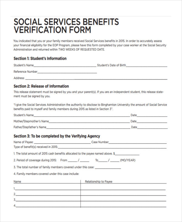 service benefits verification