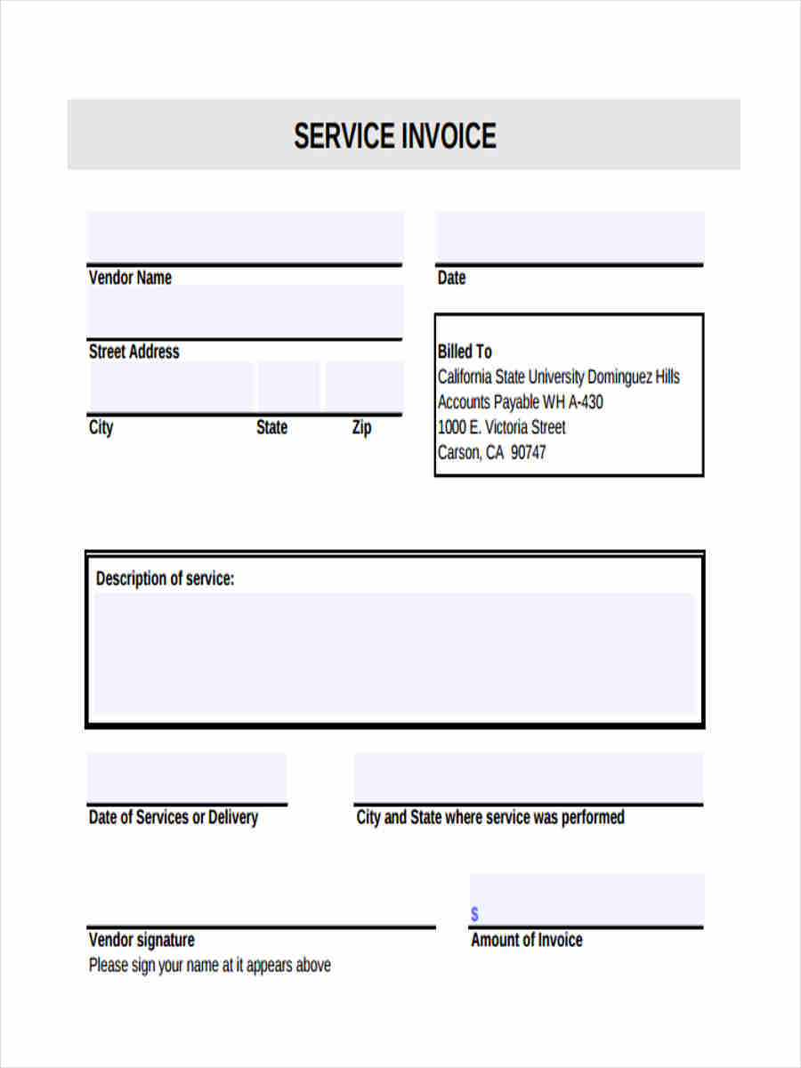 free 9  sample service invoice forms in word