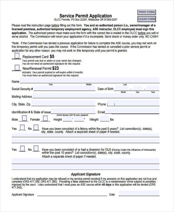 service permit application