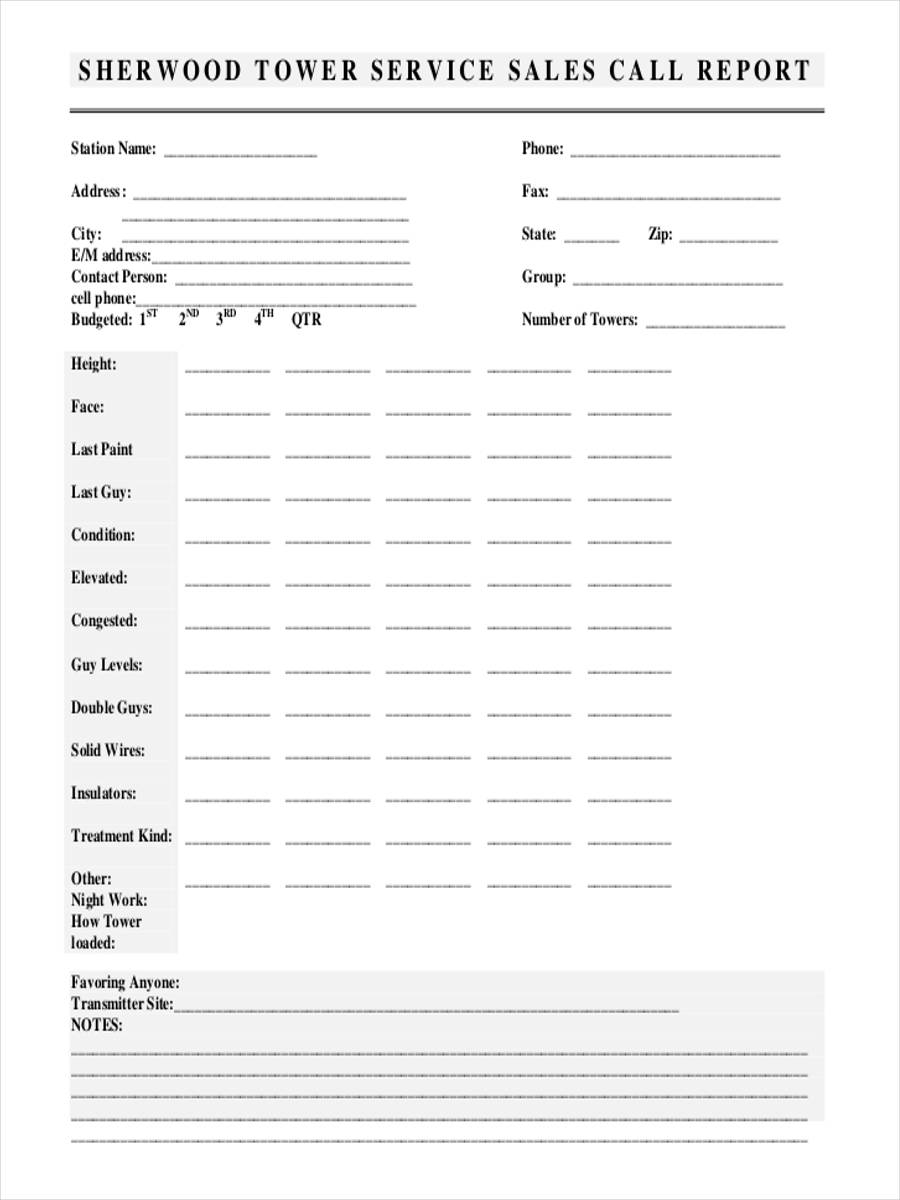 sales call report forms