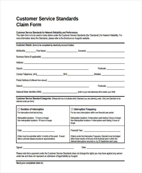 service standards claim