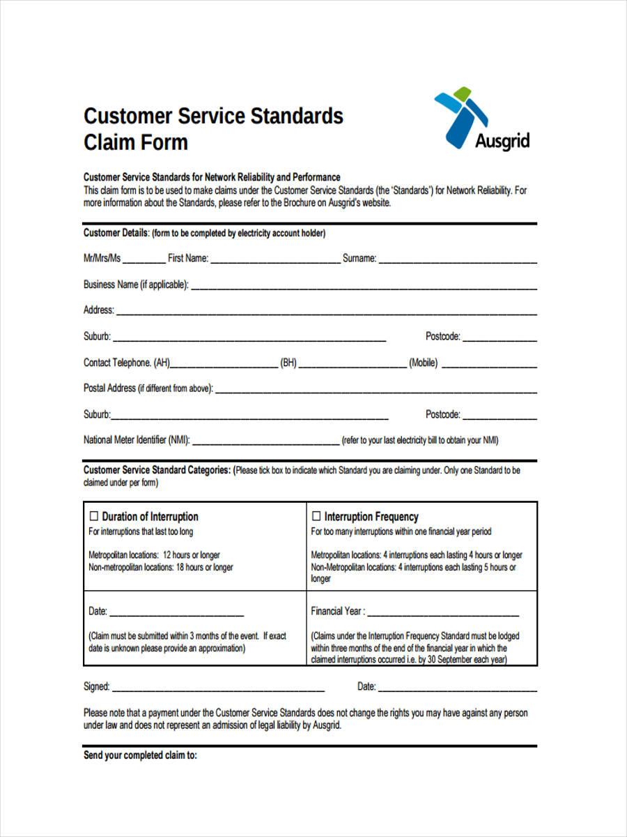 9 customer service form sample free sample example format download customer service standards claim falaconquin