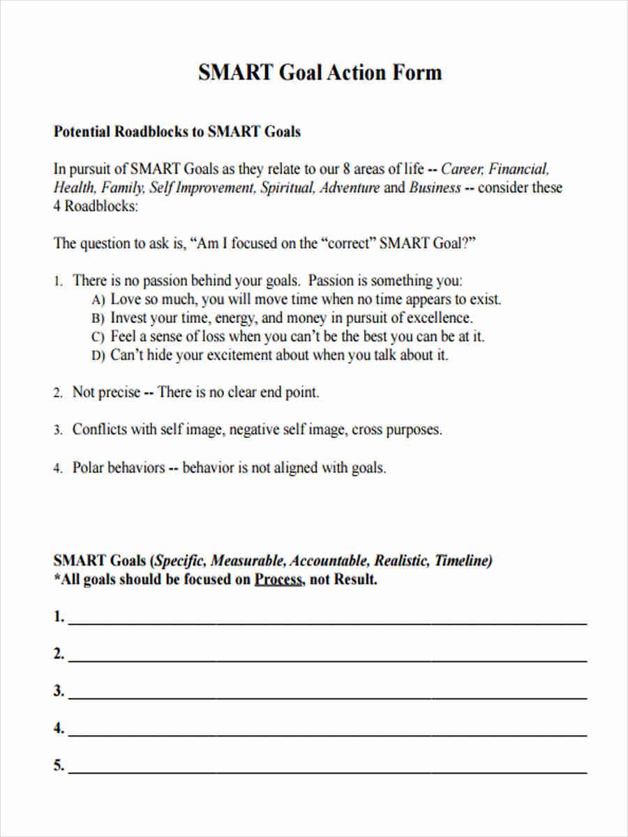 smart goal action form