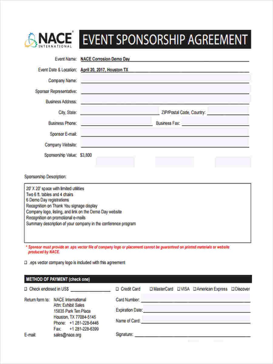 Sample Sponsorship Forms