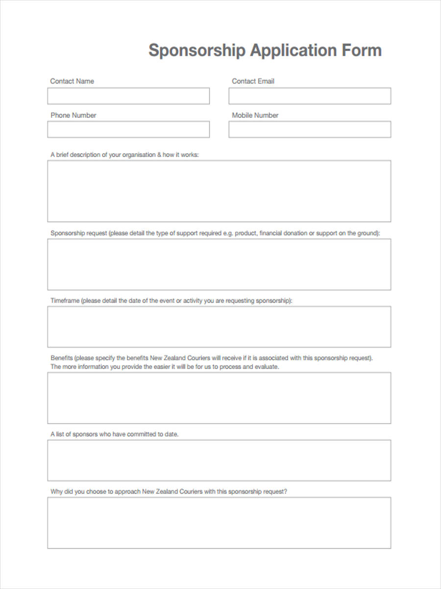 7 event sponsorship form sample free sample example for Sponsor application template