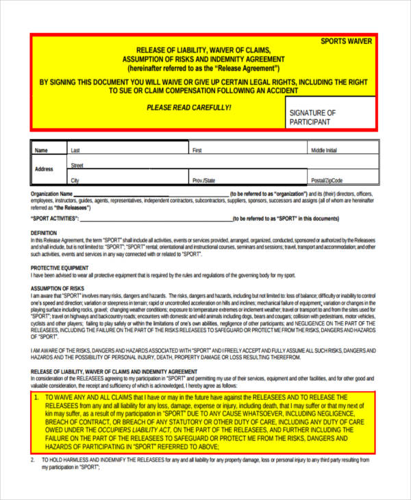 sports liability waiver