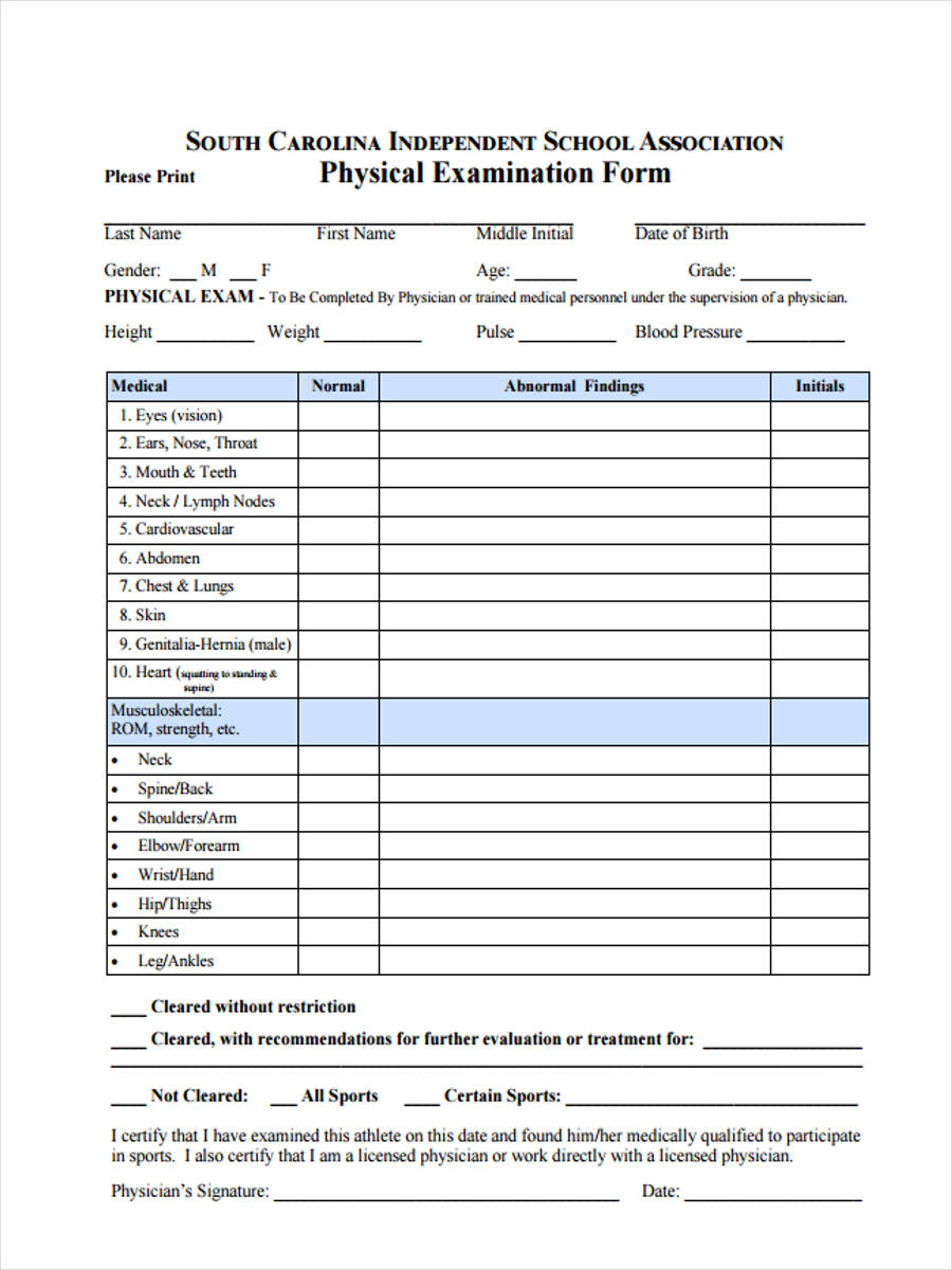 7 sports physical form sample free sample example format download