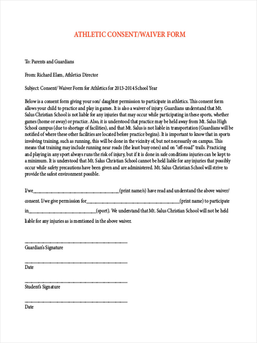 FREE 8 Sports Waiver Forms In PDF