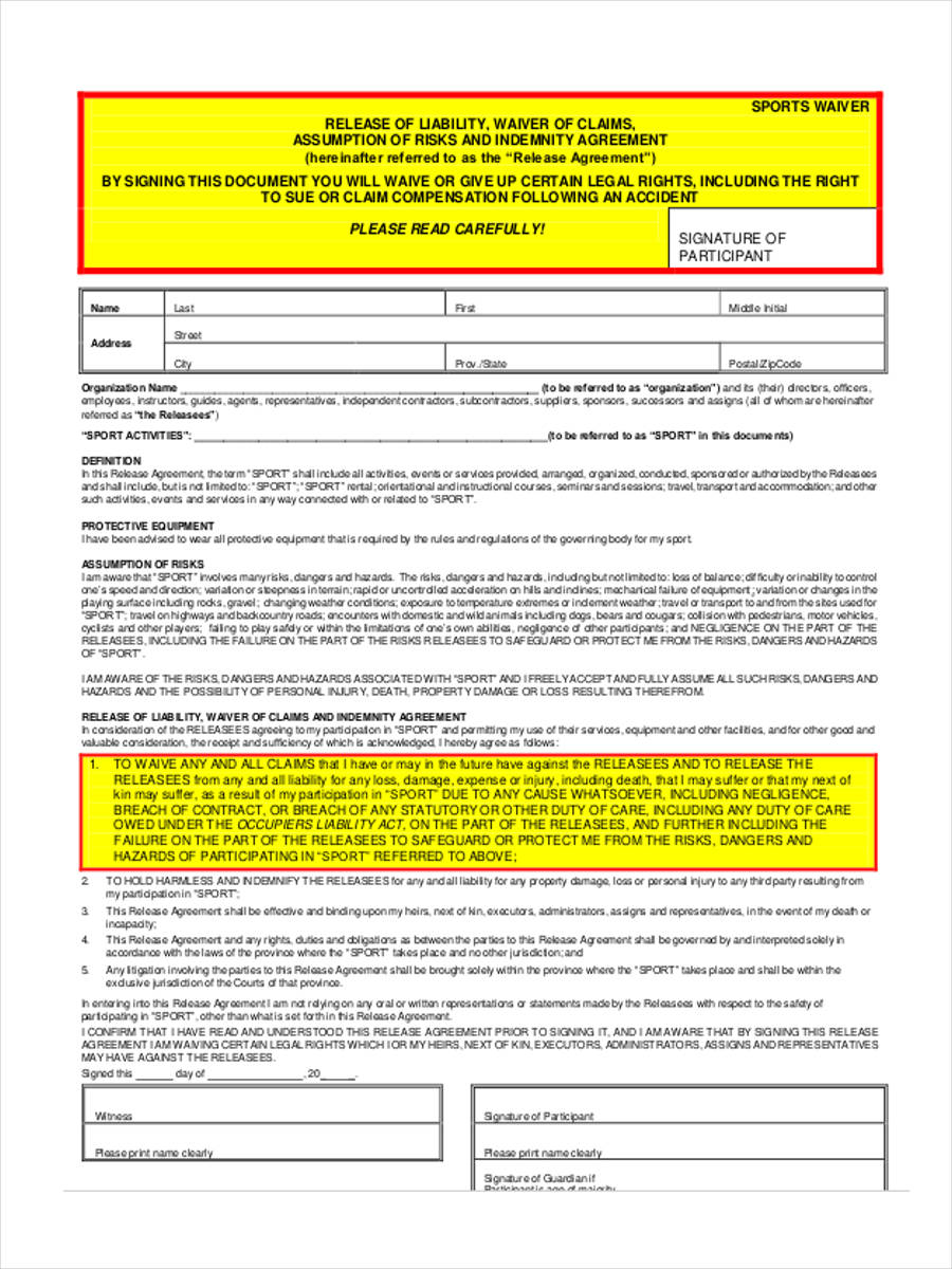 sports waiver form