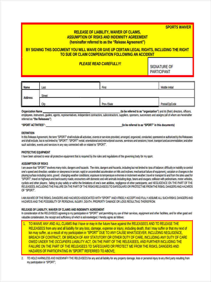 sports waiver form1