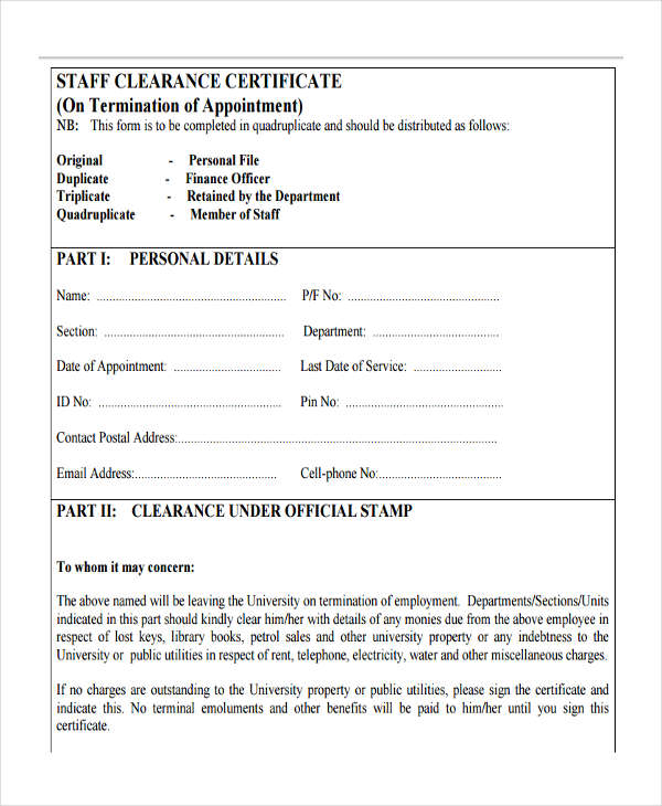 staff clearance certificate