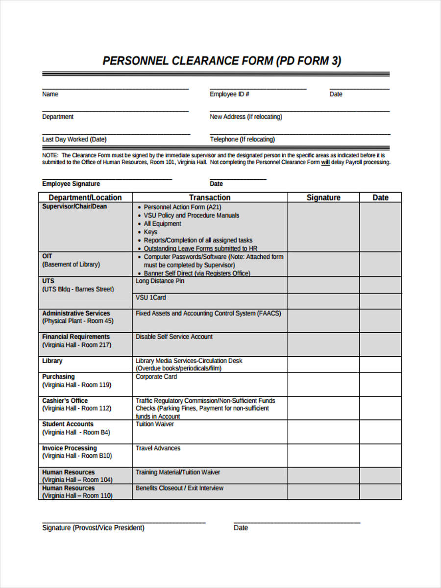 7+ Staff Clearance Form Sample - Free Sample, Example Format Download